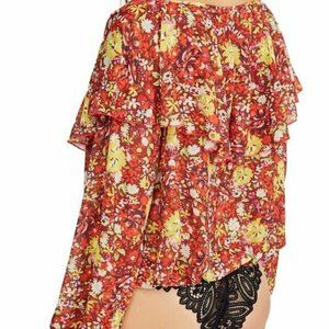 Free People NWT One Piece Leotard Sheer Floral M F